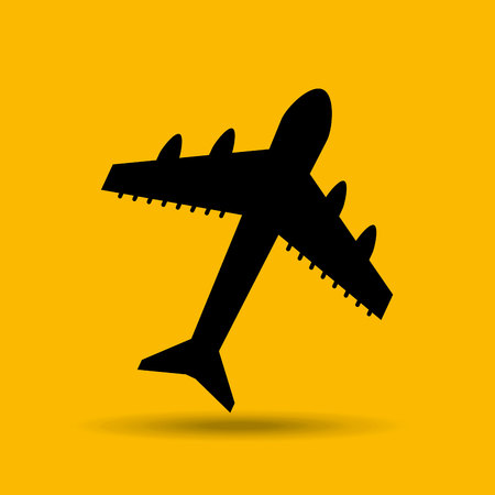 travel concept transport airport plane button design, vector illustration  graphic