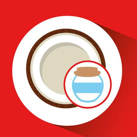big jar jam coconut icon design vector illustration eps 10 Illustration