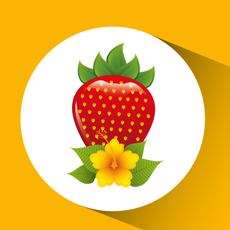 delicious strawberry and yellow flower vector illustration eps 10