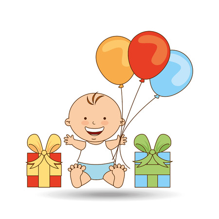 cheerful baby gift and balloons design vector illustration eps 10