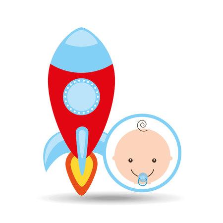 reflection of life: cartoon rocket toy baby icon vector illustration eps 10