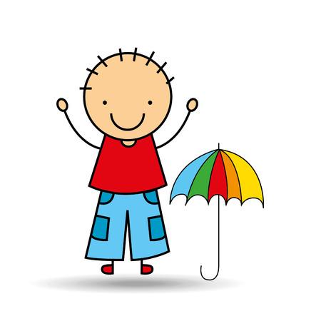 cartoon boy happy colors umbrella vector illustration eps 10