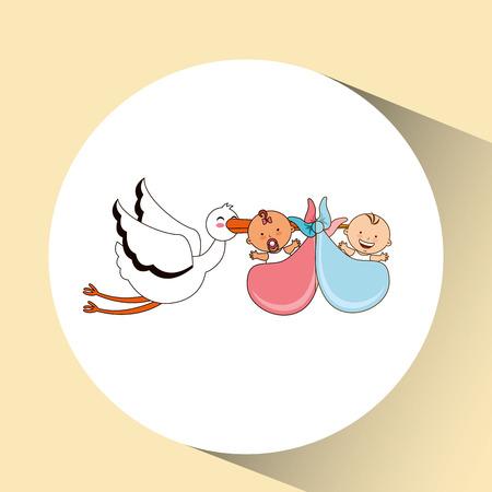 illustraion: twins stork birth cartoon design vector illustraion eps 10