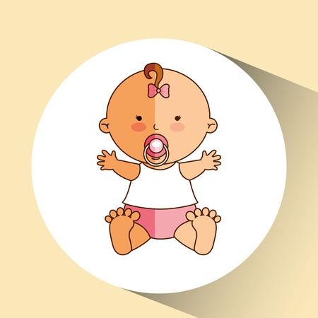 happy baby girl pacifier icon graphic vector illustration eps 10 Illustration
