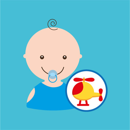 piloting: cute helicopter baby toy icon vector illustration eps 10