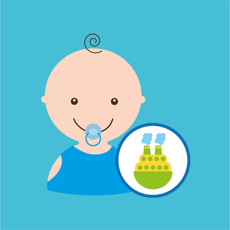 central park: big boat toy baby icon vector illustration eps 10
