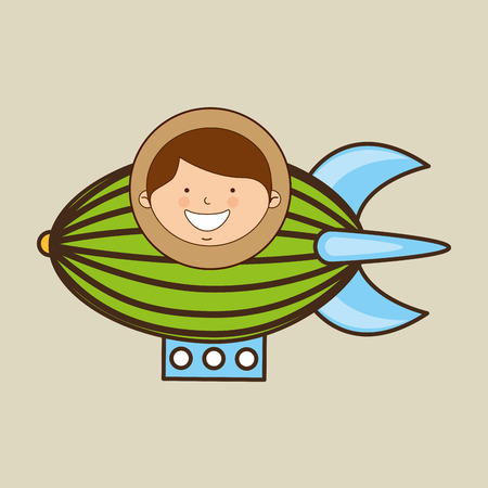 boy lovely smiling airship graphic vector illustration eps 10