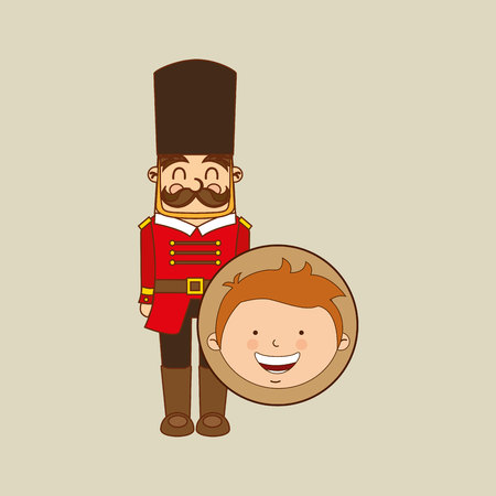 foot soldier: boy lovely smiling wooden soldier graphic vector illustration eps 10 Illustration