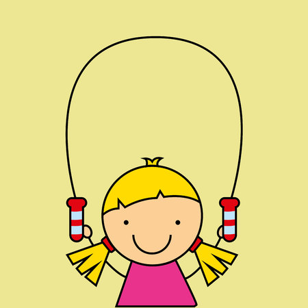 girl happy cartoon jump rope vector illustration eps 10 Illustration
