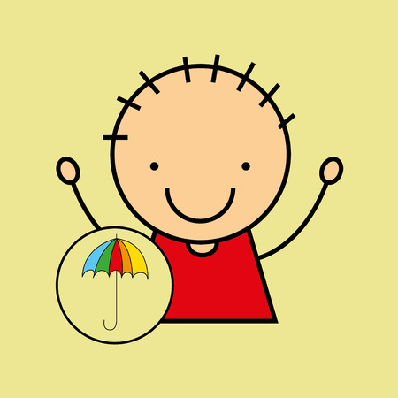 rainbow umbrella: cartoon boy happy colors umbrella vector illustration eps 10