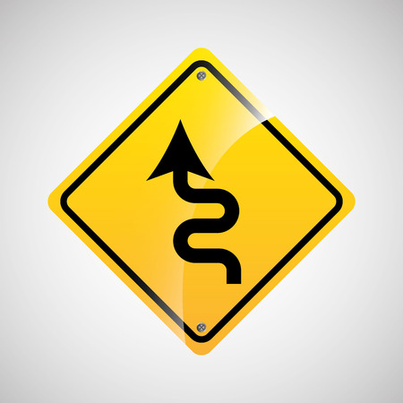 curve road: signal traffic yellow icon graphic vector illustration eps 10