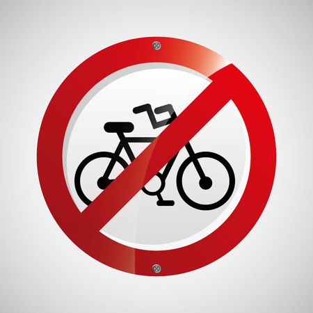prohibited traffic bike sign round icon design vector illustration eps 10