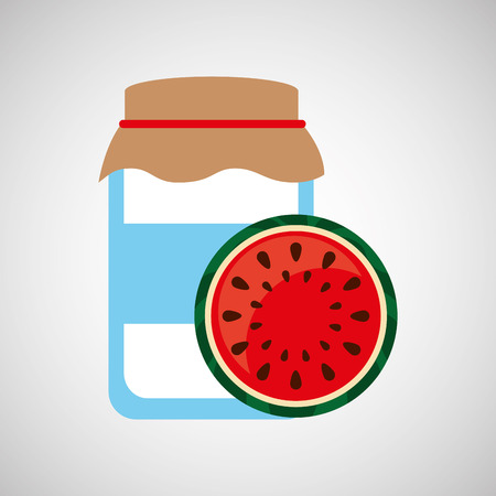 homemade bread: jar cute blue with jam watermelon graphic vector illustration eps 10