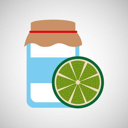 confiture: jar cute blue with jam lemon graphic vector illustration eps 10 Illustration