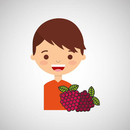 sibling: boy smiling cartoon with raspberry icon design vector illustration eps 10 Illustration