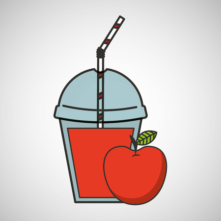 cold cuts: delicious juice apple fruit and cup cover straw icon vector illustration eps 10