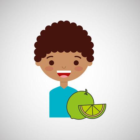 happy boy with delicious lemon fruit design vector illustration eps 10