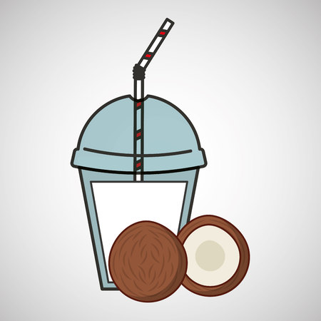 delicious juice fruit coconut and cup cover straw icon vector illustration eps 10
