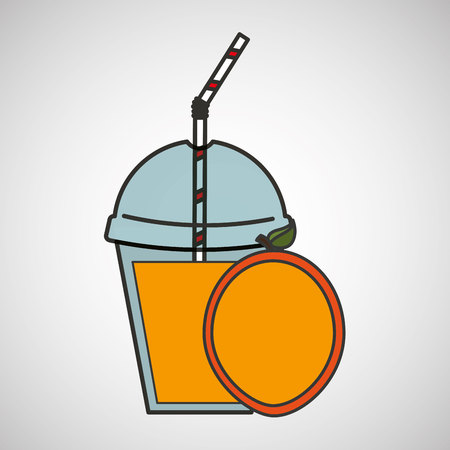 detox: delicious juice fruit and cup cover straw icon vector illustration eps 10 Illustration
