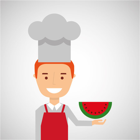 fructose: cheerful chef fresh watermelon graphic vector illustration eps 10 Illustration