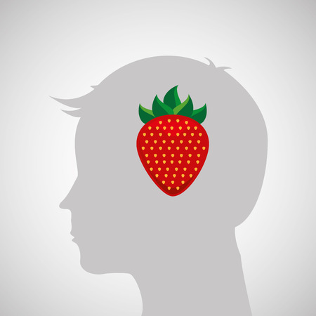 silhouette head with tasty strawberry icon graphic vector illustration eps 10 Illustration