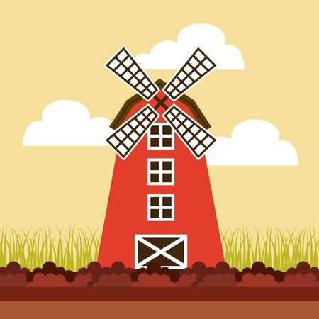 agriculture production landscape icon vector illustration design