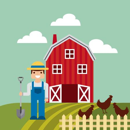 agrarian: agriculture production landscape icon vector illustration design