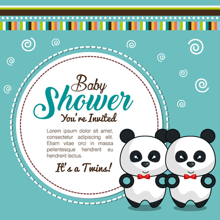 stuffed: baby shower invitation with stuffed animal vector illustration design