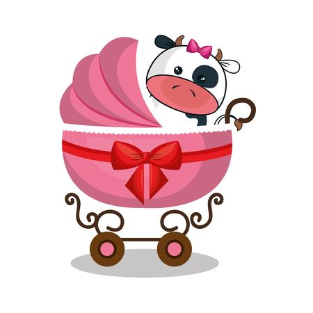 carro del bebé con diseño lindo de los animales de peluche ilustración vectorial