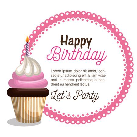 feliz fiesta de cumpleaños tarjeta de ilustración vectorial de diseño Ilustración de vector