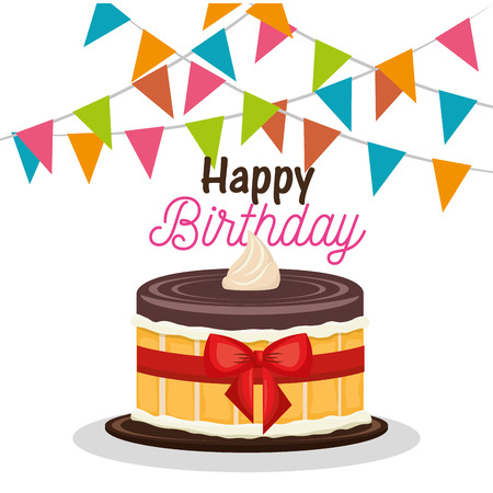 feliz fiesta de cumpleaños tarjeta de ilustración vectorial de diseño