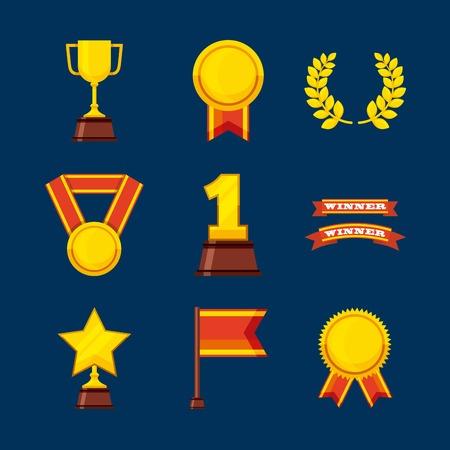 gold leafs: set awards championship icons vector illustration design Illustration