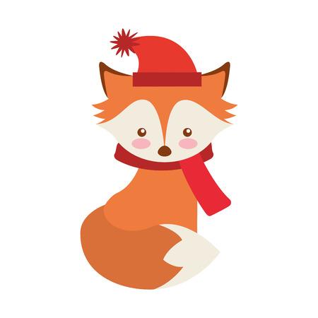fox winter clothes character vector illustration design Illustration