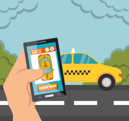 hand hold: hand hold smartphone with app taxi illustration