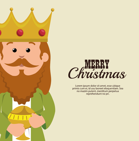 born saint: happy merry christmas manger character vector illustration design Illustration