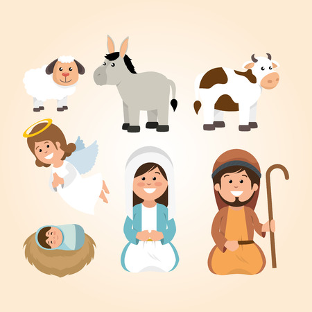 happy merry christmas manger character vector illustration design Ilustrace
