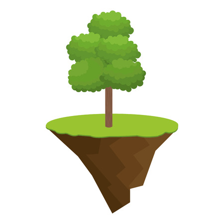 terrain with grass and tree isolated icon vector illustration design
