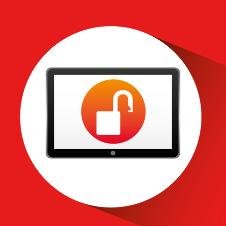 tablet technology icon protection web vector illustration eps 10