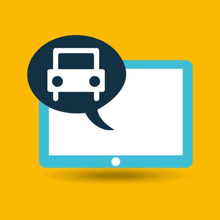 blauw tablet cartoon auto pictogram ontwerp vector illustratie