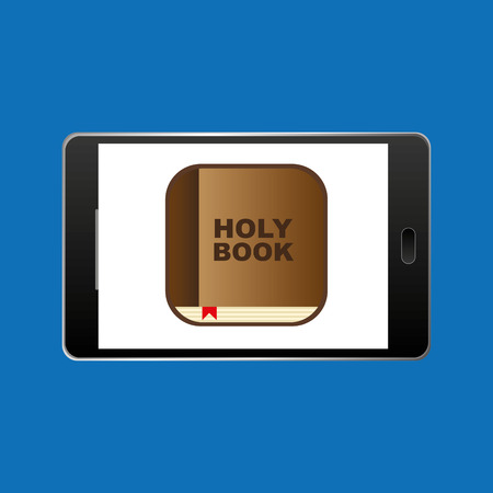 guestbook: big smartphone   holy bible online icon vector illustration Illustration