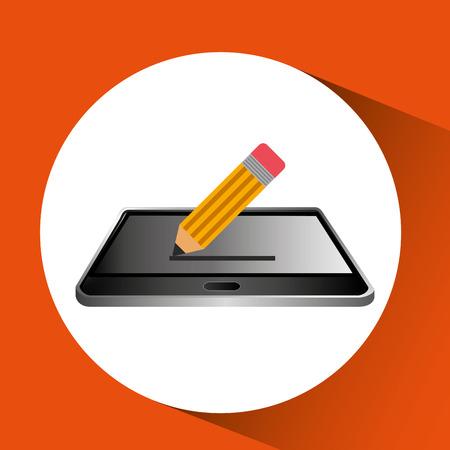 smartphone black lying icon pencil design vector illustration eps 10
