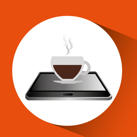 telework: smartphone black lying cup coffee icon design vector illustration eps 10 Illustration