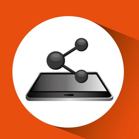 smartphone black lying sharing icon design vector illustration eps 10 Illustration