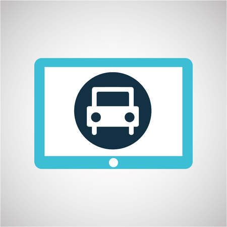 blauw tablet cartoon auto pictogram ontwerp vector illustratie eps 10 Stock Illustratie