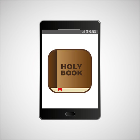guestbook: big smartphone black holy bible online icon vector illustration eps 10