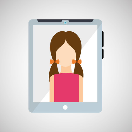woman tablet: cartoon tablet and character woman vector illustration