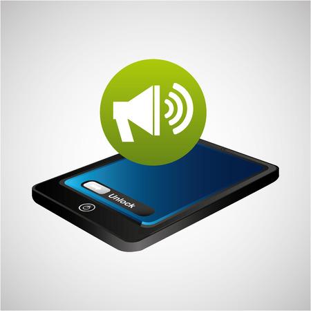 smartphone blue screen unlock megaphone speaker vector illustration eps 10