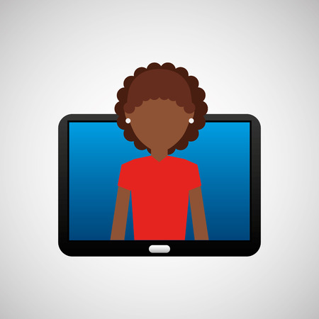 woman tablet: tablet black technology and character afro woman vector illustration Illustration