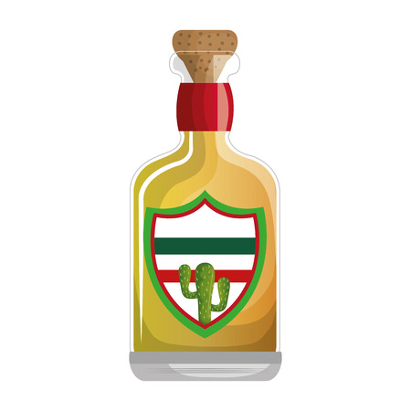 mexican tequila bottle icon vector illustration design Illustration