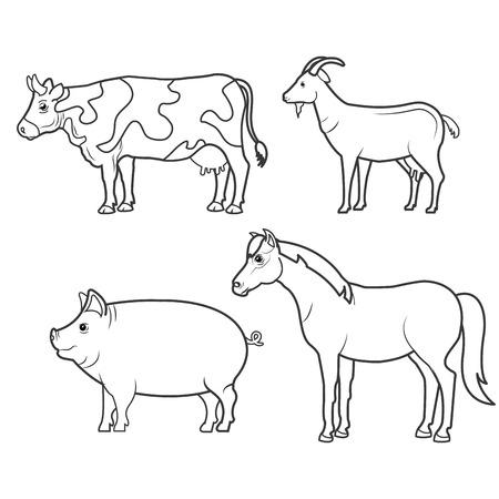 animales de granja icono doméstico ilustración vectorial de diseño